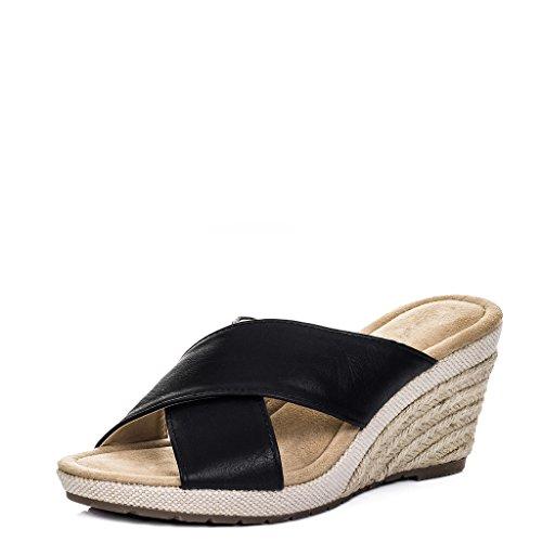 SPYLOVEBUY SEYCHELLE Women's Open Peep Toe Wedge Heel Espadrille Sandals Shoes Black Leather Style