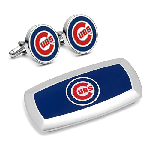 Cufflinks Inc Metal Mens Jewelry Sets Chicago Cubs Cufflinks And Cushion Money Clip Gift Set Silver Model # - Silver Cufflinks Chicago Cubs