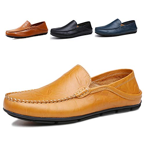 Tan Casual Loafers - Lapens Men's Driving Shoes Premium Genuine Leather Fashion Slipper Casual Slip On Fashion Sneakers Breathable Mules Sandals Loafers Shoes LPMLFS137-Br47