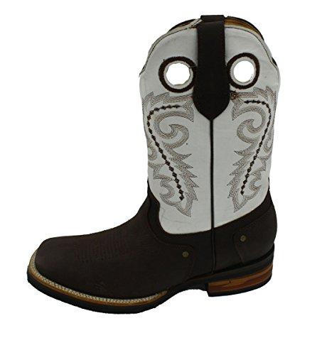 Dona Michi Mannen Cowboylaarzen Echt Rundleer Effen Vierkante Neus Rodeo Westernlaarzen Bruin