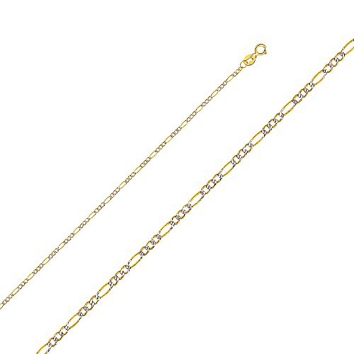 Tone Gold Pave Figaro Necklace (Wellingsale 14k Two Tone Yellow and White Gold SOLID 1.8mm Polished Figaro White Pave Diamond Cut Chain Necklace with Spring Ring Clasp - 16