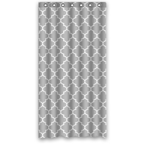 Gray White Moroccan Trellis Shower Curtain,Latticework Shower Curtain Polyester Waterproof 36