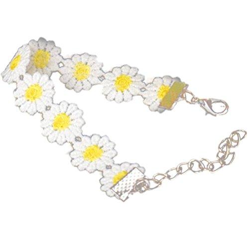 Inkach Delicate Daisy Flower Bracelet Female Bohemian Wrist Chain Jewelry White