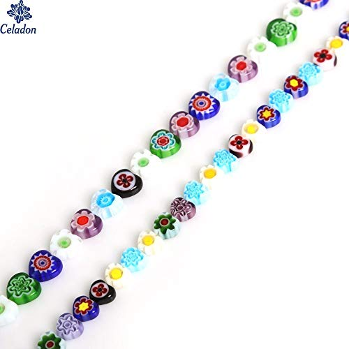 Pearls Glass Pearl Glass Necklace Beautiful Millefiori Flower Lampwork Glass Beads Mix Color Heart-Shaped Ply 3.5MM for Necklace Bracelet Jewelry Making DIY Craft (Random) (Rose Millefiori)