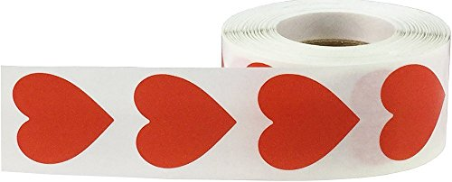 Red Heart Labels (BINGNENG 500PCS Love Heart Coding Dot Labels Stickers for Valentine's Day Crafting Scrapbooking, Adhesive Label for Arts and Crafts Envelope)