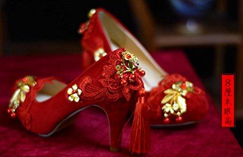 Linyi 14cm Rød Blonder Stiletthæler 8cm Brodert Sko Høye Feste Stor Bryllup Størrelse Kvinners 11cm Kinesiske Bruden fZqfrwUxI
