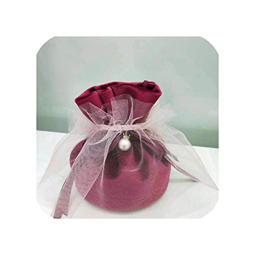 - 2019 Newest Flannel Jewelry Gift Bags Wedding Favors and Gifts Box Sweet Candy Bag for Birthday Baby Shower Party Supplies,Wine with Yarn,9X12Cm,20Pcs