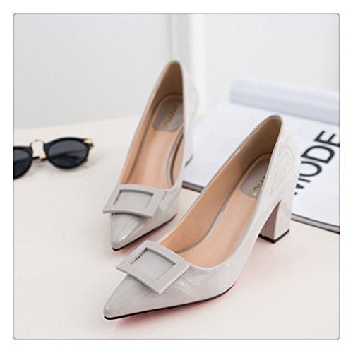 Always Pretty Fashion Girls Pointed Toe High Heel PU Soft Material Solid Pumps Grey pdpgPDlCV