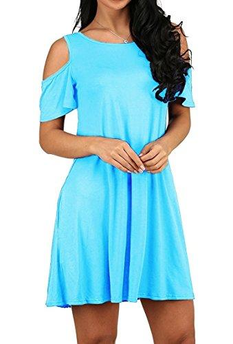 d59c3efe5b7e4c PrinStory Women s Summer Cold Shoulder Tunic Top Swing T-Shirt Loose Dress  with Pockets (