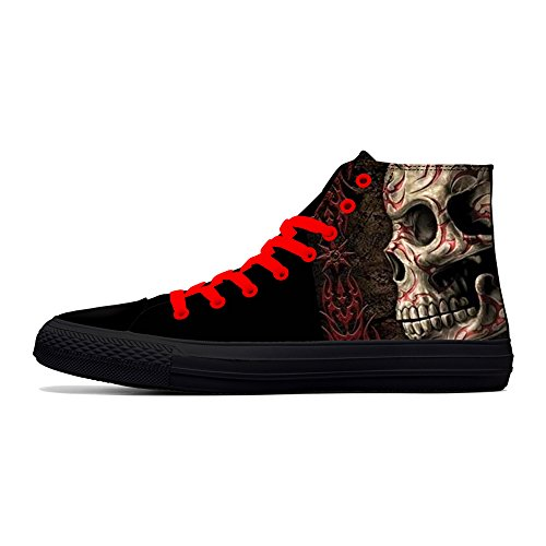 FIRST DANCE Men Fashion Punk Skull Black Shoes for Men Cool High Top Sneakers Halloween Printed Shoes US9