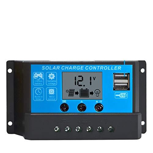 PowerEZ 20Amp PWM Solar Charge Controller Solar Panel Battery Intelligent Regulator with USB Port LCD Display 12V/24V