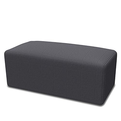 Easy-Going Stretch Ottoman Cover Folding Storage Stool Furniture Protector Soft Rectangle slipcover with Elastic Bottom(Ottoman S,Dark ()