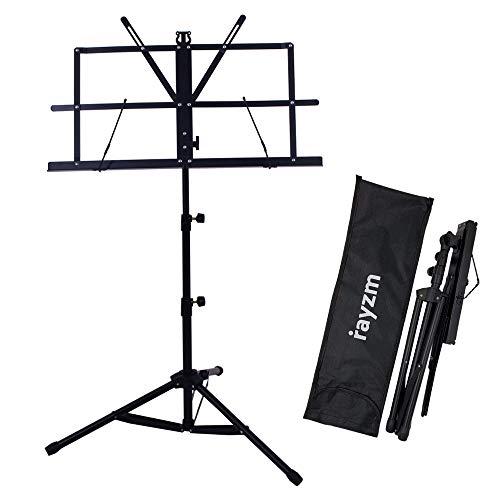 Rayzm Stand/Atril para partituras plegable y portatil con bolsa de transporte, altura ajustable, Peso maximo 1 5Kg, Ligero y Compacto para Viajes o Desplazamientos