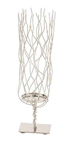 Deco 79 90868 Stainless Steel Wavy Candle Holder, 15