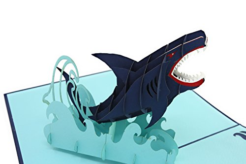 ec07244cb7392 PopLife Great White Shark 3D Fathers Day Pop Up Card - Ocean Birthday Pop  Up Father's Day Card, Congratulations, Get Well - Fold Flat for Mailing -  ...