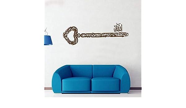 mlpnko Decoración del hogar Forma Clave Arte árabe Musulmán Islámico Etiqueta de la Pared Vinilo Mezquita Desmontable Dios Araguaran Wallpaper Mural 85x30cm: Amazon.es: Hogar