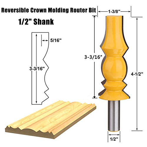- Zebery 1/2 Inch Shank 3-3/16 Inch Reversible Crown Molding Router Bit For Woodworking