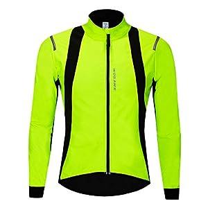 WOSAWE Hommes Vestes de Cyclisme Fleece Thermique Vélo Coupe Vent Impermeable Vêtements pour Automne Hiver