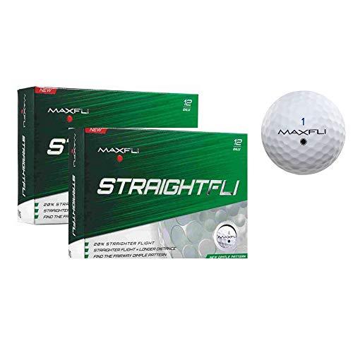 Maxfli StraightFli Golf Balls - Longer Straight Flight Distance (Gloss White - 24 ()