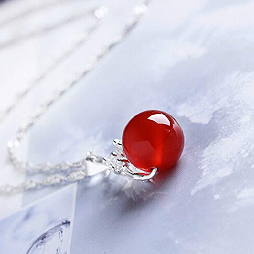Silver Inlay Natural Agate Chalcedony Jade 925 Chain Transfer Beads Inlaid Zircon Pendant Necklace Fashion Beautiful Lady (Red Bead Diameter 12Mm To Send Chain ()