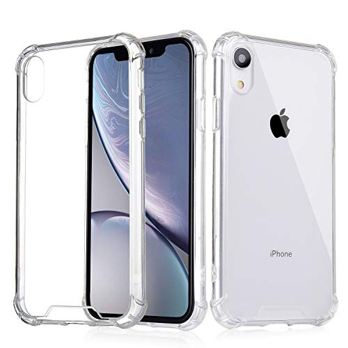 - iPhone XR Case, iXCC Crystal Clear Hard Cover Case [Shock Absorption] with Soft TPU Bumper for iPhone XR (2018 Release) - Clear