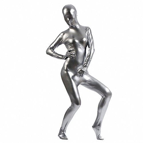 PennyPumpkin Bodysuit Shiny Metallic Second Skin Tight Suit Spandex Bodysuit Woman Halloween Cosplay Full Body Unitard Gray XXXL