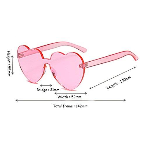 forma gafas de Yefree montura en Women de de Rosado color sol corazón lente caramelo sin Eyewear transparente girl qYY0Wvt