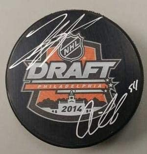 Oskar Lindblom /& Travis Sanheim Flyers Autographed 2014 Draft Hockey Puck