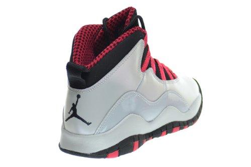 NIKE Air Jordan Junior GS Große Kinder Retro 10 Basketballschuhe Wolf Grey / Legion Rot / Schwarz