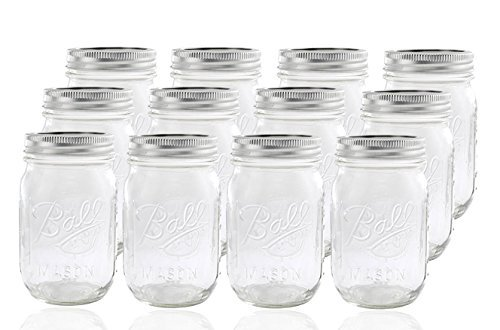 Ball Glass Mason Jar with Lid and Band, Regular Mouth, 12 Jars ()