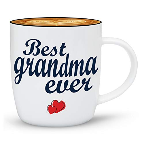Gifffted Worlds Best Grandma Ever Coffee Mug Gifts from Grandson Granddaughter, Mugs Presents for Greatest Grandparents Day Gifts, Christmas, Mothers Day for Great Grandma, Gift Cups Ceramic V1