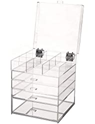 Sooyee Acrylic Large Cube 5 Tier Deep Drawers Cosmetic Organizer with Lid,The Lid can be Upright at 90 Degrees,Handmade Multifunction Makeup Organizer and 9 Grid Divider,Clear- 9.84X9.84X12.3 inch