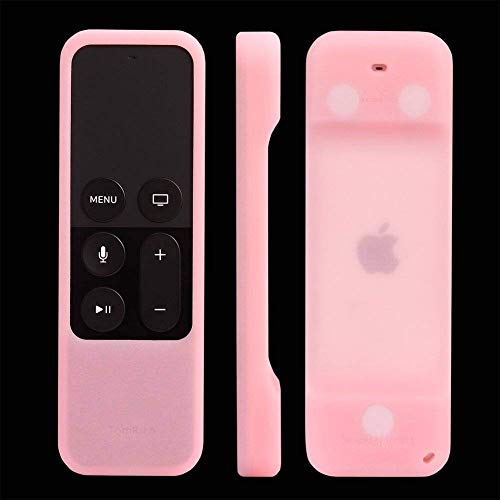 TomRich Protective Case for Apple TV 4th / 5th Gen Remote - [Heavy Shock Proof] [Anti Slip Lanyard Included] Silicone Case Cover for Apple TV 4K/5K Siri Remote Controller-Pink Glow in The Dark