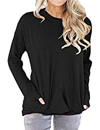 Women's Casual Long Sleeve Round Neck Shirts Loose Soft Pockets Pullover Blouse Tops Tunics