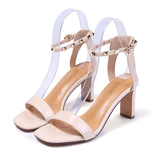 Rivets Shoes 8Cm Rear Buckles Sandals Heel gules Lacquer Coarse Empty Ladies High Heel KPHY Toes Summer wxFTqXP8P