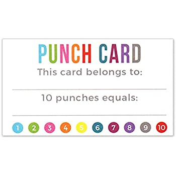 Amazon punch card incentive loyalty reward cards business punch card incentive loyalty reward cards business card size 35 x 2 inches colourmoves