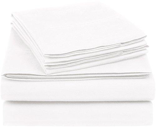 AmazonBasics Essential Cotton Blend Sheet Set -Full, White ()
