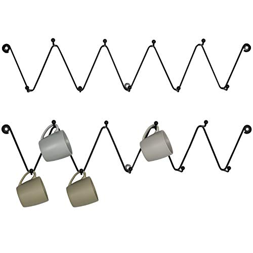 MyGift Black Metal Zig-Zag Wall-Mounted 9-Hook Mug Racks, Set of 2 (Black Mug Coffee Metal)