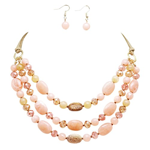 Dance Recital Costumes Rack (Rosemarie Collections Women's Triple Strand Natural Stone Statement Necklace Earrings Set (Pink))