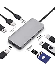 USB C Hub,8 In 1 Type C Adapter With 3 USB 3.0 Ports (5Gbps Transfer Speed), 2 USB2.0 Ports ,SD/TF Card Reader, 100W PD Charging Compatible For Type C Devices