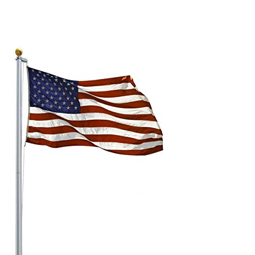 Tangkula 20ft Aluminum Sectional Flagpole Kit Outdoor Halyard Pole + 1PC US American Flag (20ft)
