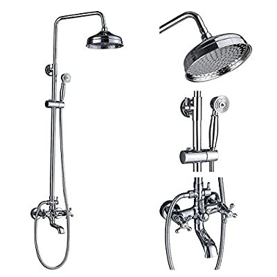"Rozin Chrome Bathroom 8"" Round Rainfall Shower Faucet Set Tub Mixer Spout Tap with Hand Spray"