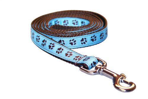 Sassy Dog Wear 6-Feet Blue/Brown Puppy Paws Dog Leash, Medium from Sassy Dog Wear