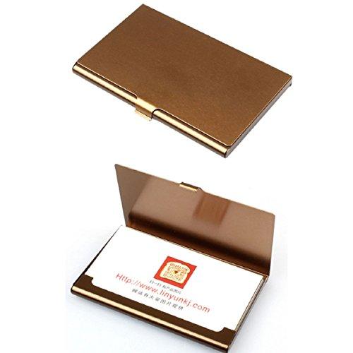 Mokingtop Creative Aluminum Holder Metal Box Cover Credit Business Card Wallet (Coffee)