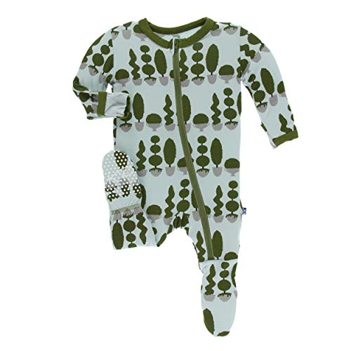 Kickee Pants Little Boys Print Footie with Zipper - Spring Sky Villa Garden, 0-3 Months