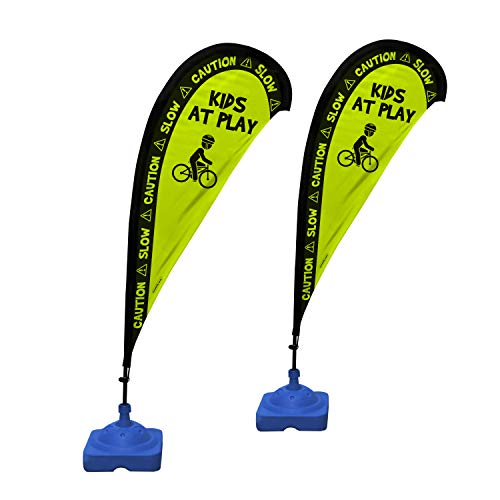"Kids Playing Extra Large 6.4 Foot Flag Style, Safety Sign with Fiberglass Poles and Weighted Base for Yards and Driveways -""Kids at Play"", 2 Pack"