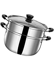 Cabilock Steaming Cookware Stainless Steel Heavy Duty Healthy Soup Porridge Food Pot with Handle Stove Steaming Boiler for Home Kitchen