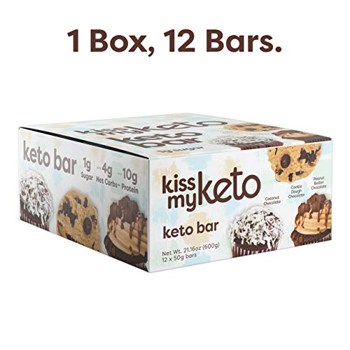 Kiss My Keto Bars - Low Carb (3g Net), Low Sugar Keto Snack Bars | Chocolate Variety Pack, 12 Pack | Rich in Ketogenic Fats & Protein
