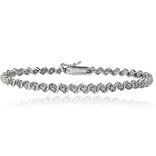 928 Silver 1/4ct TDW Natural Diamond S Design Tennis Bracelet by Jawa Fashion