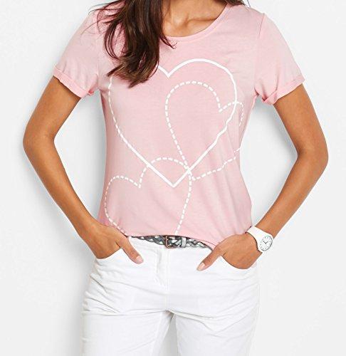 Damen Kurzarm-Shirt, 221959 in Weiß bedruckt